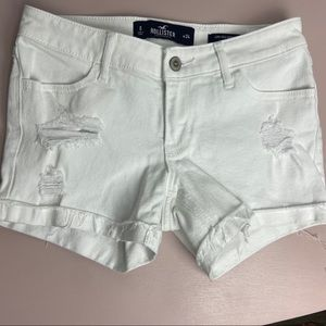 White Ripped Hollister Jean Shorts